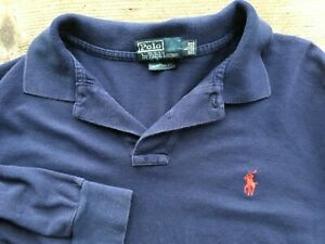 RALPH LAUREN POLO MENS L LARGE 40-42 LONG SLEEVED BLUE RUGBY POLO SHIRT