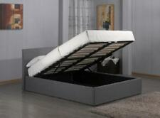 Modern Ottoman Storage Gas Lift Up 3ft 4ft6 5ft Grey Fabric Bed With Mattress