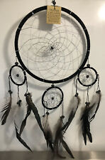 Large Black Dream Catcher Wood Bead Iridescent Feathers Native American