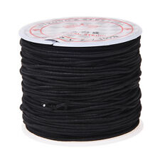 1 Roll 24m Long Black Round Elastic Beading Thread Cord 1mm DT