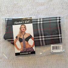 "Teachers Pet School Girl Tie Grey Tartan Plaid 56"" Mens Wear Lingerie Costume"