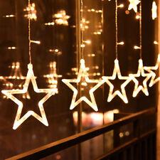12 sterne led lichterkette lichtervorhang fenster balkon warmweiß weihnachten 💖