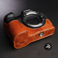 Genuine Leather Half Case Camera Bag Cover Fit For Canon EOS R Handmade quality