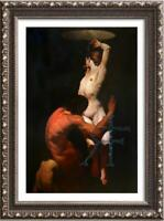 """Hand-painted Original Oil painting Portrait art male nude girl on Canvas 24""""X36"""""""