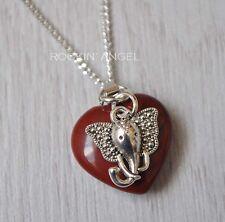 925 Silver Necklace Red Jasper Heart & Silver Plt Elephant Pendant Ladies Gift
