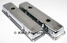 SBC Chevy 350 Chrome Short Steel Valve Covers w/ Oil Cap Hole 283 305 327 400