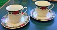 Vintage Tienshan Deck The Halls 2 Sets of Cups & Saucers