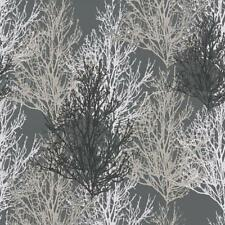 Black and Silver Trees Wallpaper with Glitter on Shimmer Dark Grey 34819-4