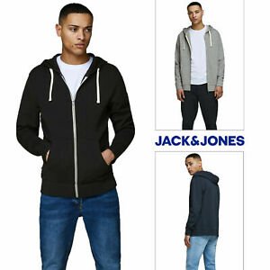 Mens Jack & Jones Holmen Zip Thru Hoodie Hooded Sweatshirt Cotton Sweat Hoody