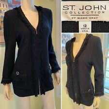ST JOHN Size 12/Large Black Stretch-Knit Boucle Frilled Zip Long Blazer Sweater