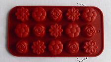 Silikonform Pralinenform für 15 Pralinen / 3 verschiedene Blumenmotive / NEU