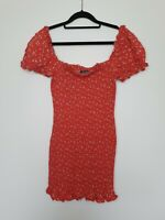 Glassons Mini Dress Red Shirred Puff Sleeve Floral Linen Frill Bodycon Size 10