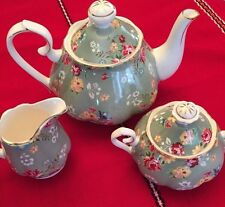 3pc Grace's Teaware Pot,Creamer & Sugar Bowl -Green With Flowers,New,free Ship