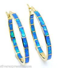 "18K Gold Plated 925 Sterling Hoop Earrings with Blue Fire Opal 1-1/4"" wide"