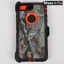 For Apple iPhone 8 Plus Orange/Tree Camo Defender Case (Clip Fits Otterbox)