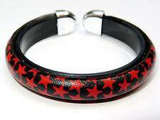 Nautical Red Star Tattoo Rockabilly Stars Black Bangle Bracelet Wristband