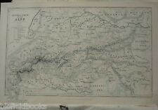 Original Victorian Antiquarian Map: c1855 Central Chain of the Alps