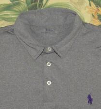 Mens Polo RALPH LAUREN Performance Gray Poly Elastane Blend Golf Shirt Large L