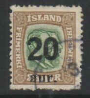 Iceland - 1922, 20a on 25k Yellow-Green & Bistre stamp - G/U - SG 141 (b)