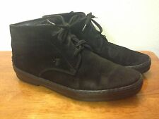 TOD'S GOMMINO POLACCO MENS LACEUP CHUKKA ANKLE DESERT BOOTS BLACK SUEDE 7.5 TODS