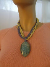 Beaded Statement Necklace White and Blue Accent Fashion Mod