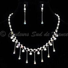 Parure de bijoux argentée mariée collier boucles d'oreilles cristal AB perles