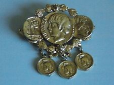 Fabulously Effective Gold Tone Ancient Greek Coin Brooch or Pendant