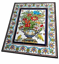Tile image Flowers Ceramic picture Wall Floor hand-painted 0.9 m