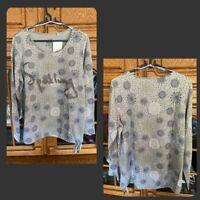Gina Benotti Langarm Shirt Grau mit Muster und Schriftzug Gr.44/46 Neu