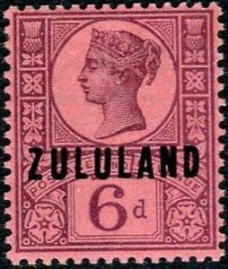 Zululand 1888-93 QV  6d Purple/Rose-Red   SG.8 Mint (Hinged)    Cat:£23