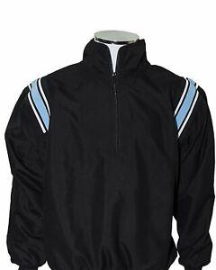 Major League Umpire Jacket - Black With Powder Blue & White Trim