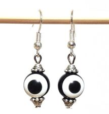 EVIL EYE Black & White_Acrylic Earrings Handmade Beaded_Silver Plated Hooks_14H