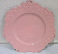 Pink Eyelet Scalloped Edge Chargers Plates Set of 4 Shabby Chic Cottage