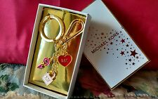 MICHAEL KORS Red Cherry Gold Heart Charms MK Logo Lock Key Chain Ring Fob NEW