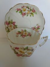 VICTORIA  BONE CHINA, ENGLAND, CUP/SAUCER, APPLE BLOSSOM SCALLOPED,GOLD TRIM