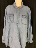 CATO Women's Sz XL Chambray Denim 1/4 Snap Button Long Sleeve Shirt Pockets EUC