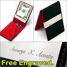 Free Engraving Men's Leather Silver Money Clip Pocket Wallet Slim ID Card Holder