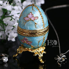 Blue Egg Shaped Crystal Metal Trinket Boxes Figurines Collection Wedding Gifts