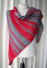 Hand Knit Asymmetrical Shawl Triangle Scarf Wrap in RED GRAY BLACK 100% AntiPill