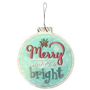 Large Merry & Bright Christmas Bauble Metal Sign