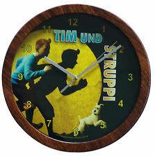 Wanduhr Vintage Retro Tim und Struppi Shabby Uhr Comic Sammler Retro Gelb style