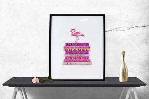 Fashion Books Flamingo A3 Print Poster Decor Wall Art A4 Gift Girly Salon - 1573