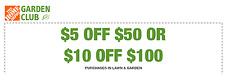 Home Depot Garden In Store $5 off $50 or $10 off $100, expires 8/23/17