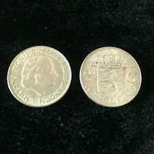 TWO Coins - 1966 2 1/2 Gulden Coin from the Netherlands--72% Silver