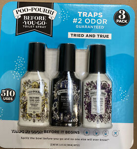 NEW ~ POO POURRI BEFORE YOU GO TOILET SPRAY 3 PACK 3.4 oz Ea. 510 USES IN TOTAL