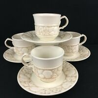 Set of 4 VTG Cups and Saucers Metlox Vernon Antiqua Poppy Trail California USA