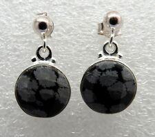 925 Sterling Silver Dangle Snowflake Obsidian Gemstone Ear post Earrings 11mm