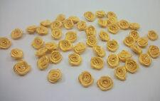 50 APPLICAZIONE FIORI ROSE NASTRO RASO 10 mm giallo BOMBONIERE FAI DA TE 222