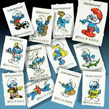 12 Various 3D Smurfs Smurf Googly Eyes Knibbelbild Sticker 70er Smurf