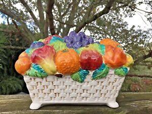Vintage RECTANGLE Fruit Basket Porcelain ITALY Banana Orange Grape Apple ++ ❤️j8